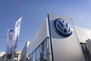 Volkswagen car maker logo on a building of czech dealership